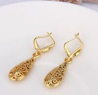 "14k Yellow Gold Plated 1.1"" Medium Polished Teardrop Dangle Earrings"