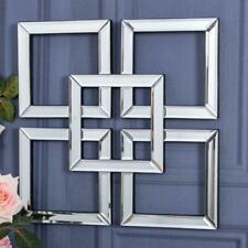 Mirrored Square Wall Art Mirror Geometric Glass Bevelled Art Decor 40 x 40cm