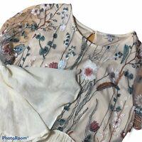 Umgee Womens S Top Tunic Mini Dress Cream Floral Boho 3/4 Sleeve Casual Small