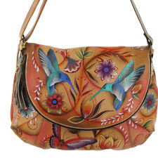 Anuschka Leather Large Convertible Flap Over Hobo Handpainted Flying Jewels Tan