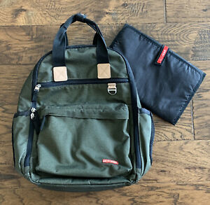 Skip Hop Duo Diaper Backpack Tote Olive Green Changing Pad