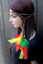 Rasta Feather Headband - Hippie Headband - Rastafarian - Reggae Headband - Boho