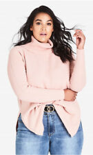 City Chic XS 14 Cameo Soft Pink Jumper Roll Neck