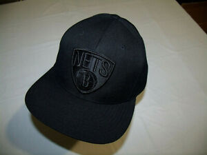 "Brooklyn Nets Black Out Hat ""Stoop Boyz"" Mitchell & Ness NBA Snapback 20% Wool"