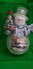 "The Thomas Kinkade ""Winter Winter's Glow"" Illuminated Frosted Snowman"