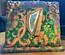 Antique Victorian Photo Album Cabinet Card Book-Velvet Cover w/ Inlaid Mirror