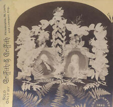 ORIGINAL 1893 STEREOVIEW OF GEORGE   MARTHA WASHINGTON MEMORIAL W/ FLOWERS