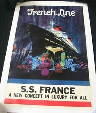 "CGT FRENCH LINE SS ""FRANCE"" Peak Poster Original"