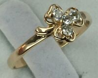Vintage Original Rose Gold Ring 585 14K With Cubic Zirconia, Chic Ring 585 14K