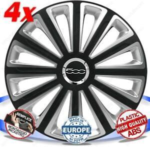 SET 4 BORCHIE RUOTA COPRI CERCHI CALOTTE 14 TREND DC RC PER FIAT 500