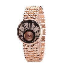 Partywear Full Stone Rose Gold Dial Women Quartz Wrist Watch