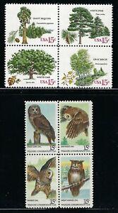 USA - 2c MNH  Blocks of 4 - Trees & Owls.........USA-1015