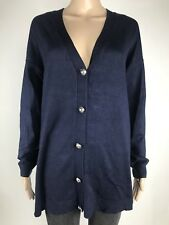 Joan Vass Sweater Size L Womens Navy Blue Button Cardigan NWT $68