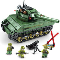 437pcs US M4 Sherman Tank Building Blocks with Army Soldiers Figures Toys Bricks