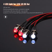 LED 4 Lights Kit 2 White 2 Red for 1/10 1/8 Traxxas HSP Redcat Axial SCX10 D90