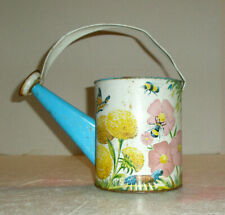 Vintage Tin Childs Watering Can Bumble Bees Flowers Butterflies Caterpillar