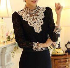 HOT Women's Clothing Long Sleeve Lace Tops Shirt Blouse Ladies Korean Fashion