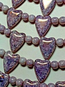 Mauve Heart Beads 13mmx18mm  Czech Glass Top Drill w/ 6mm Druk Beads Free Ship!