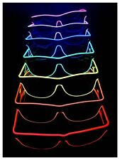 LED EL WIRE NEON GLOWING LIGHT UP BIRTHDAY PARTY CLUB GLASSES RED PINK BLUE  LOT