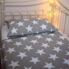 Single Bedding Duvet Cover Set Grey White  Stars black piping PURE COTTON
