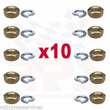 10 X 3/8 UNC BRASS MANIFOLD EXHAUST NUTS NUT SET WITH SPRING WASHERS CLASSIC CAR