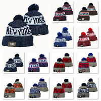 Winter Warm Knit Embroidered All MLB Team Pom Beanie Hat Unisex Adults Teenagers