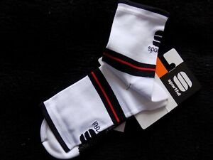 Sportful Mens AC Vuelta 9cm Cycling Socks - White,Black,Red - Size S - One Pair