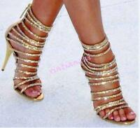 Womens Wedding Bling Bling Strappy Hot Rhinestone Stiletto High Heel Party Shoes