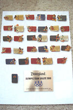 Pin 5007 Disneyland Olympic Team Salute 1988 Set - 30 Pins with Plaque no frame