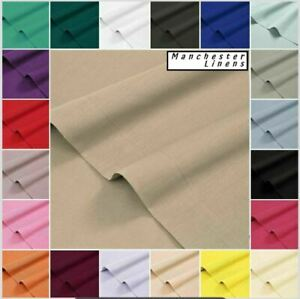 100% Poly Cotton Flat Sheet Plain Dyed Bed Sheets Single Double King Super King
