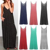 Plus Size Women's Deep V Neck Polka Dot Cocktail Evening Party Long Maxi Dress F
