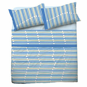 Set Bed Pompea Rule Sheets Above Under with Corners Pillowcase Blue