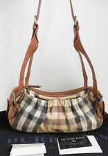 Burberry Nova Check Plaid Canvas Leather Crossbody Shoulder Bag Italy