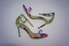 Manolo Blahnik Chaos purple green floral ankle strap sandals size 39 NWOB