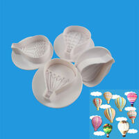4Pcs Hot Air Balloon Cake Cookie Biscuit Decorating Fondant Plunger Cutter Molds