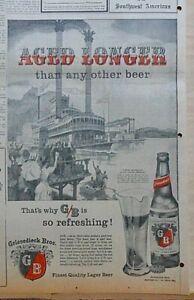 Large 1956 newspaper ad for Griesedieck Bros. Beer - Riverboat race St. Louis