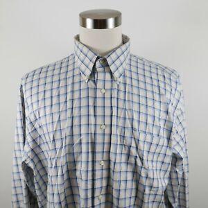 Jos A Bank Mens Cotton Traveler LS Button Up Blue Off White Plaid Dress Shirt XL