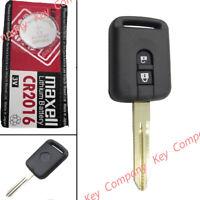 For Nissan Micra Note Qashqai Almera Primera 2 Button Remote Key Fob Case