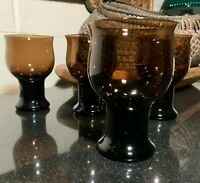 """4 Lenox Clarion Brown 5 1/8"""" Footed Wine Glasses USA - Excellent"""