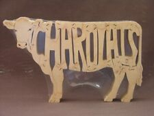 Charolais Cattle Cow Bull Amish Wood Puzzle Farm Toy