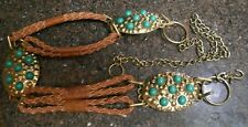 Chico's Gold tone Metal & Faux Leather Belt w Turquoise Resin Insets