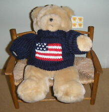 "Michaels Teddy Bear Red Bow Dark Blue Sweater Tan Soft  Stuffed 12"" Boys & Girls"