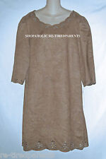SHARAGANO® - DRESS – DESIGNER – TAN BROWN - TEXTILE SUEDE – SIZE 16 - NWT $99