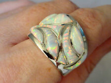 Larger Wide band Knuckle to Knuckle BRILLIANT White FIRE OPAL UNISEX Ring 9