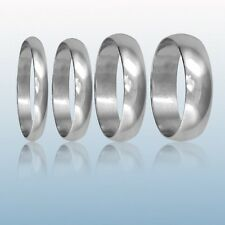 Brand New Hallmarked 9ct White Gold Wedding Ring Band D Shape