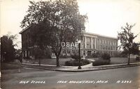B91/ Iron Mountain Michigan Mi Real Photo RPPC Postcard c40 High School Building