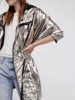 Free People Windbreaker Jacket Gunmetal Metallic Hooded Drawstring XS/ S New