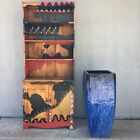 """Artisan Abstract Geometric Southwest Ethnic Handpainted Cabinet Bar Bookcase 72"""""""