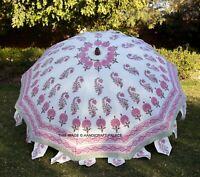 Indisch Weiß Handgefertigt Schöne Block Aufdruck Garten Terrasse Schirm Parasol