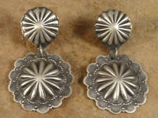 Old Style Navajo Sterling Silver Stamped Concho Earrings